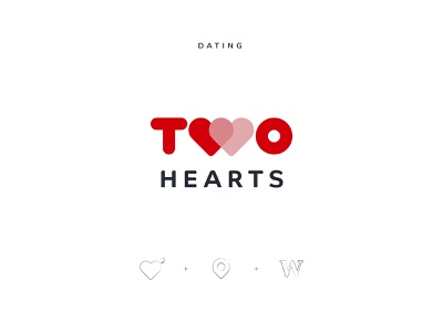 Two Hearts Logo Design simple w logo concept red location heart two branding typography vector icon logo identity dating