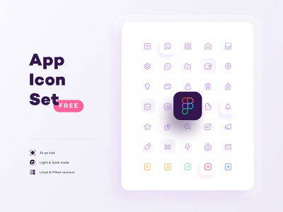 FREE App Icon Set. Figma outline line flat simple icon set app ui identity png svg sketch vector illustration figma freebie icon pack iconography set icon free