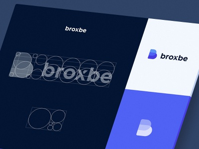 Broxbe Logo Construction cms b logo brand identity visual identity logotype grid ratio proportions golden ratio construction blue broxbe sketch vector simple app typography branding logo identity