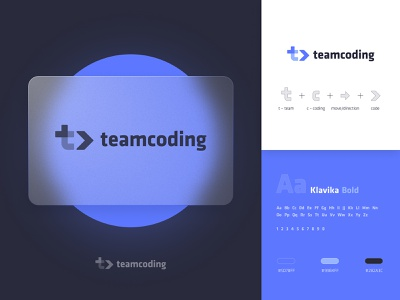 Teamcoding Logo Design startup concept dark it code coding team tc t logo glass blue flat typography simple branding icon illustration modern identity logo