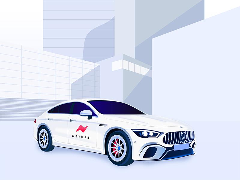 Netcab illustration city cab mercedes benz taxi car modern vector sketch ux ui app branding logo design illustration identity