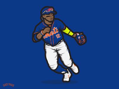 Francisco Lindor   New York Mets sports illustration rawlings new balance nike baseball sports baseball cartoon illustration mlb new york mets mets new york