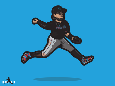 Miguel Rojas | Miami Marlins nike rawlings bottom feeders nike baseball baseball jordan brand miguel rojas air miggy cartoon illustration sports miami marlins marlins miami mlb sports illustration