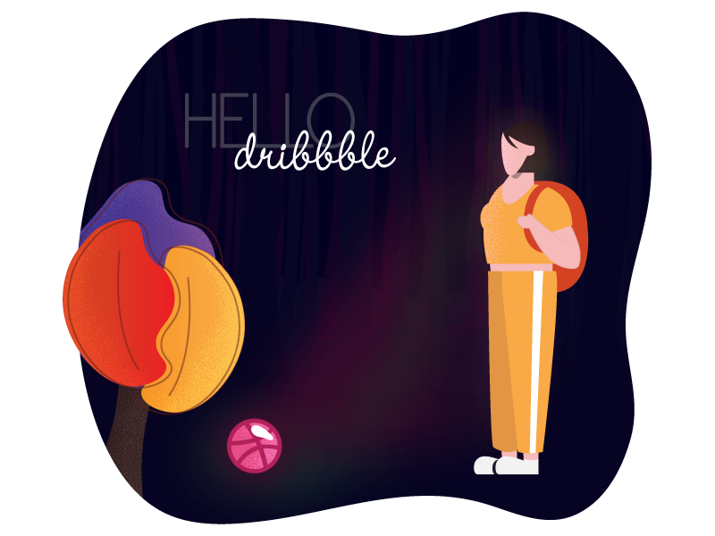 Hello Dribbble! character dribbblers forest minimalistic modern player first shot hello dribbble illustration