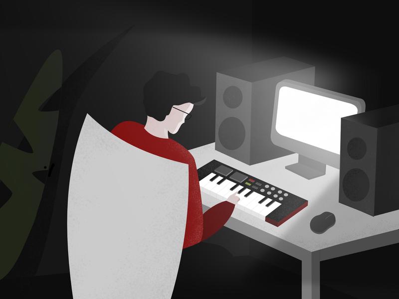 Produce Hard! studio home affinity designer ipad pro vibes good room dark keyboard midi imac flat  design flat illustration