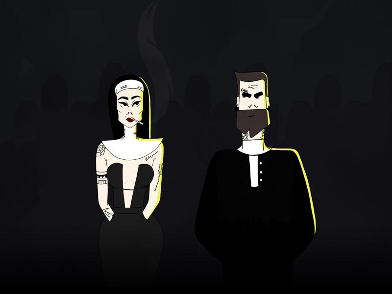 Church tattoo character light procreate dark priestess priest church