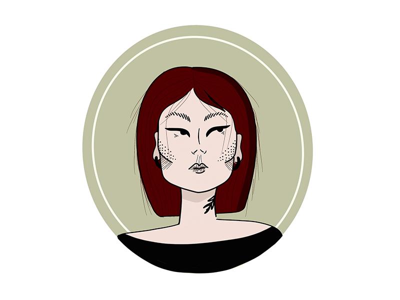 new avatar portait green character design vector design procreate ipad pro character flat illustration