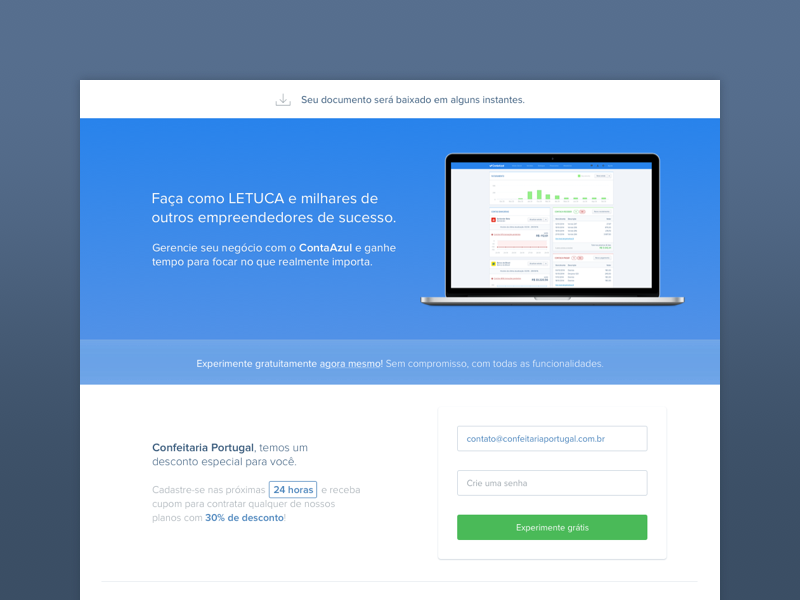 Minimal Landing Page landing page minimalist blue accounting software