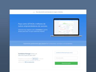 Minimal Landing Page landing page minimalist blue accounting software