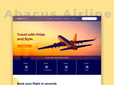 Abacus Airline Website Mockup ui design ux uxdesign product design website design flight booking airline