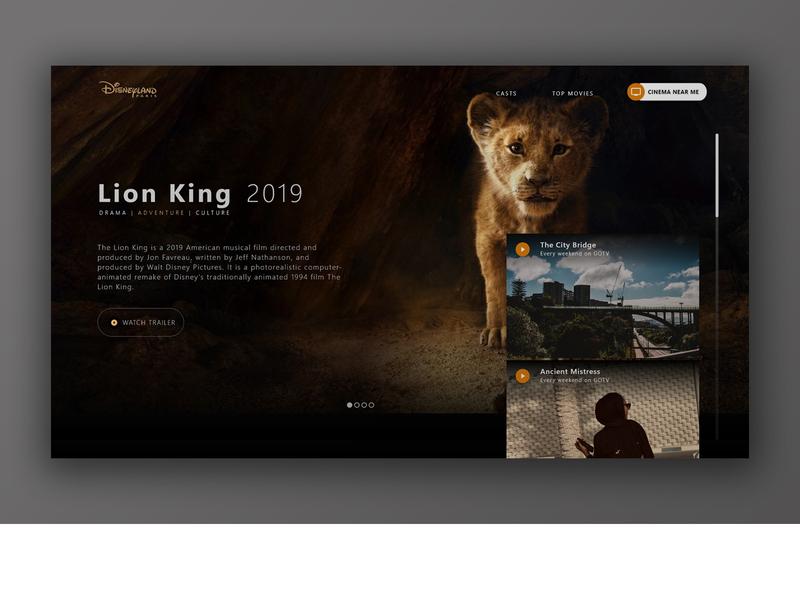 Lion King Movie Website Ui Mockup adobe xd mockup ui design ux movie movie website website mockup ui-kit design ui