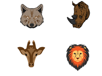 Animal Faces illustration icons