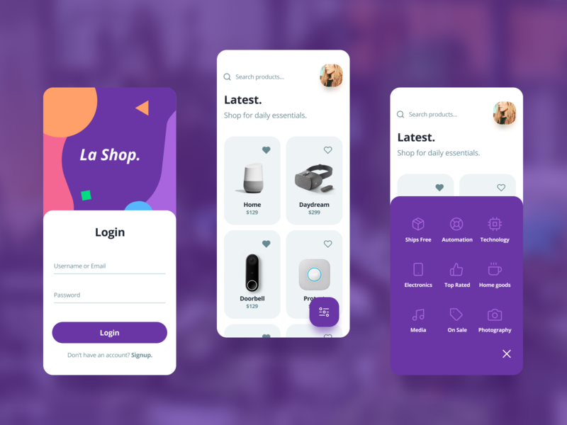 La Shop illustration icon typography app badge design flat color branding clean