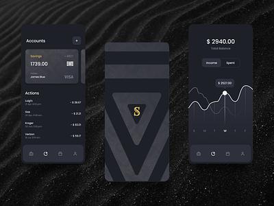 Shadow Vault Digital Banking App mobile app native app blockchain cryptocurrency crypto gold black ui ux design color clean