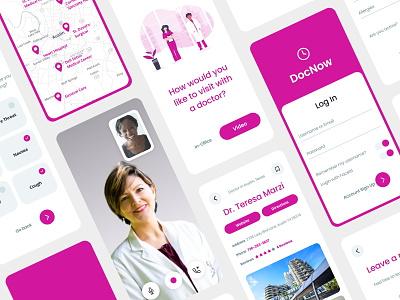DocNow Telehealth App clean design vector ux mobile ui color flat telehealth app healthcare covid19 covid