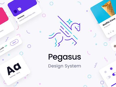 Pegasus Design System productdesign designops tools minimal app ui ux clean branding design design system