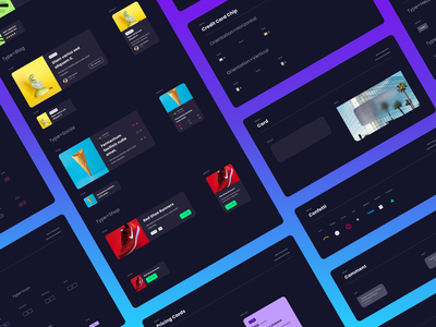 Dark Mode Components illustration app ux ui vector flat branding clean design figma design systems design system