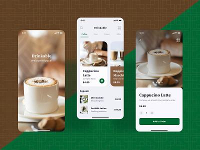 Drinkable Native App minimal illustration design system typography app ux ui design flat native pegasusdesignsystem