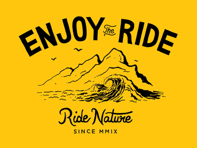 Ride Nature lettering hand drawn type typography illustration ink waves apparel ride nature surfing