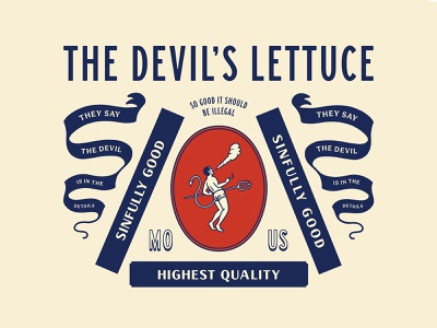The Devil's Lettuce branding label devil lettering minimal badges hand drawn illustration smoke marijuana weed thc vintage