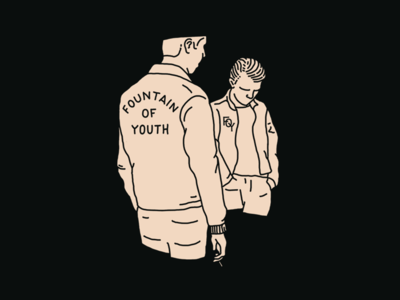 Fountain of Youth brand apparel branding vintage fountain of youth lettering jacket smoking greaser