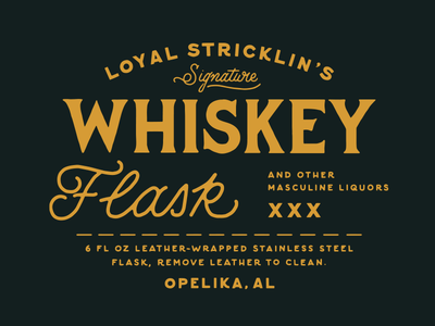 Loyal Stricklin Whiskey Flask loyal stricklin whiskey flask vintage serif script lockup alabama liquor outdoors adventure folk