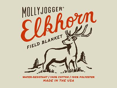 Mollyjogger Elkhorn Field Blanket adventure outdoors forest label tag mollyjogger script elk
