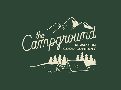 The Campground cocktail minimal vintage script mountains tent campground camping