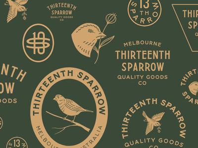 Thirteenth Sparrow australia bird sparrow lettering monogram vintage branding