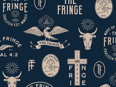The Fringe monogram banner calf badge hand eye vintage sun cross eagle branding