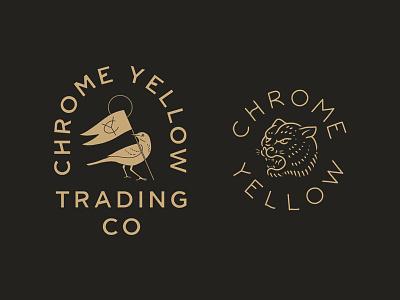 Chrome Yellow lettering atl badge tiger bird vintage atlanta coffee chrome yellow
