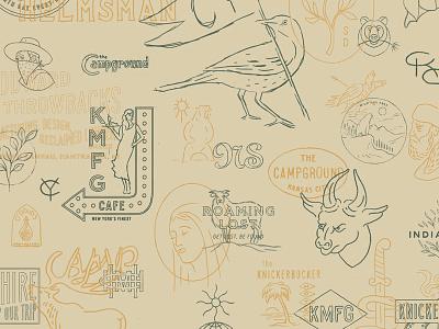 Rough Sketches monogram cowboy bear bird deer sketch vintage rough thumbnails sketches