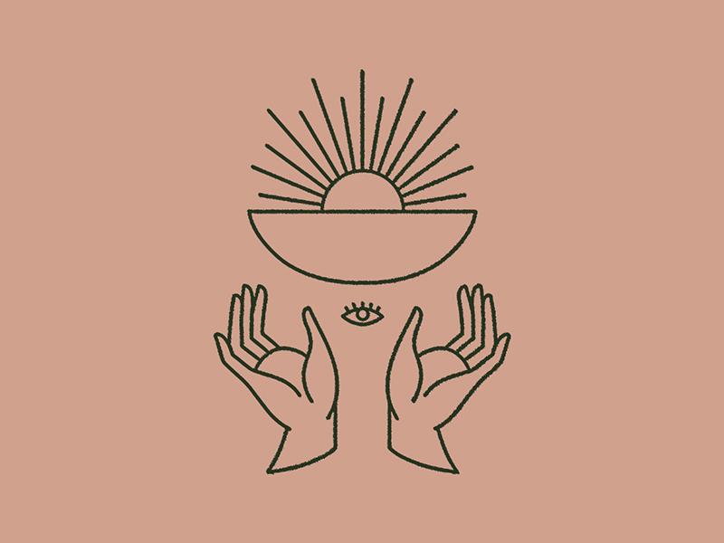 Heirloom branding restaurant mystical monoline vintage symbolism all seeing eye eye sun bowl hands