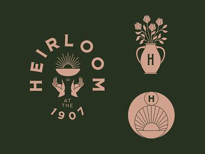 Heirloom - Full Brand minimal restaurant branding vintage heirloom sun bowl hand floral
