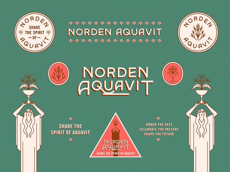 Norden Aquavit vintage art deco botanicals floral female norden liquor aquavit