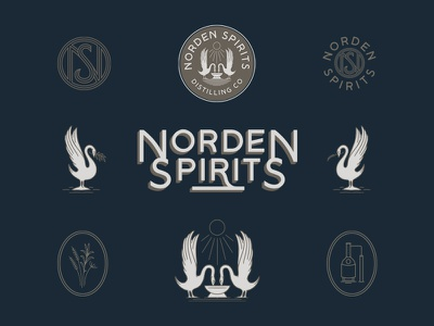 Norden Spirits monogram floral art deco minimal swan norden spirits liquor spirits vintage branding