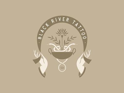 Black River Tattoo SD badge lockup minimal bowl tattoo ribon hands vintage flower floral snake
