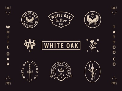 White Oak Tattoo Co. branding flower rose vintage sword crown snake bird raven serif tattoo