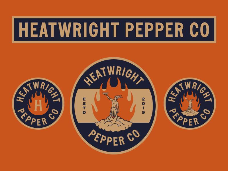 Heatwright Pepper Co. vintage badge badge minimal lockups god fire vintage hot sauce