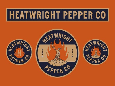 Heatwright Pepper Co. vintage badge badge minimal lockups god fire vintage hot sauce