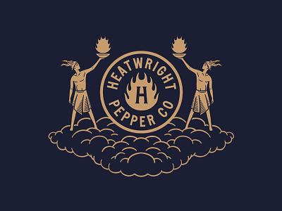 Heatwright Pepper Co. branding badge mythical god sans serif minimal vintage hot sauce flames clouds