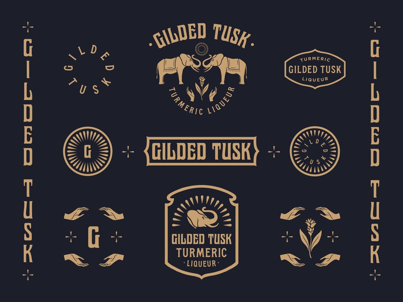 Gilded Tusk minimal vintage hands elephant turmeric liquor branding badge lockups