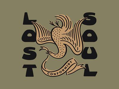 Lost Soul minimal vintage brushpen type funky banner bird
