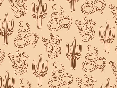 Desert brush pen hand drawn texture moon snake cactus desert