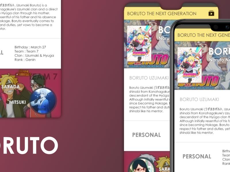 BORUTO Anime App MOCO anime art anime android app design app design mobile app design app mockup ui design uidesign uiux ui mobile ui