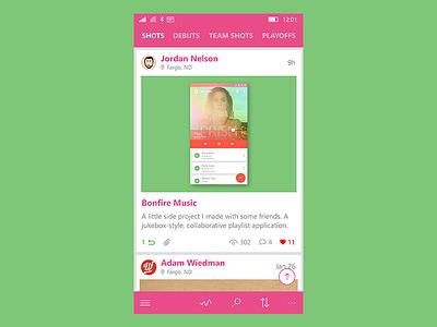 Dribbble App list ui design windows green pink light minimal app dribbble