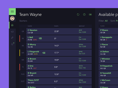 Fantasy Football App futuristic football fantasy future modern minimal ui app desktop tablet green purple