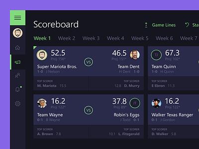 Scoreboard matchup score scoreboard football fantasy interface flat purple minimal dark ui app