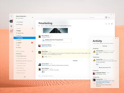 Slack Fluent Design mac design fluent app ui minimal modern acrylic windows ios microsoft apple