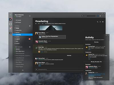Slack Dark Theme mac design fluent app ui dark slack chat windows ios microsoft apple